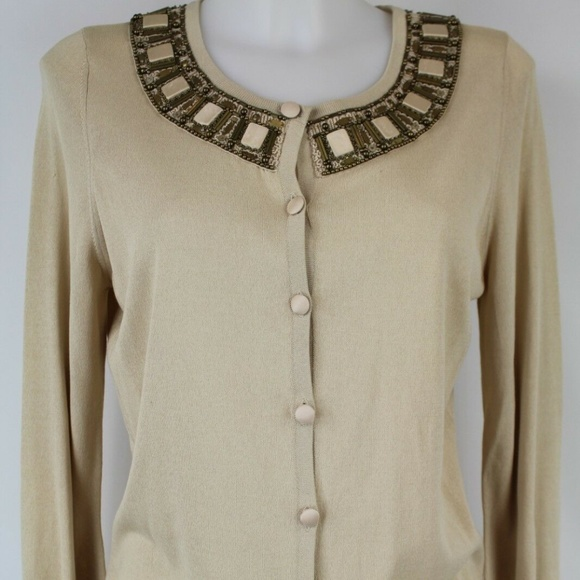 Escada Tan Beaded Cardigan Size 4